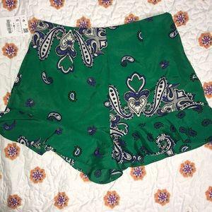 Zara Green Shorts w/ design
